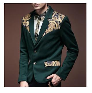 Dark Green Golden Art Flexible Blazer
