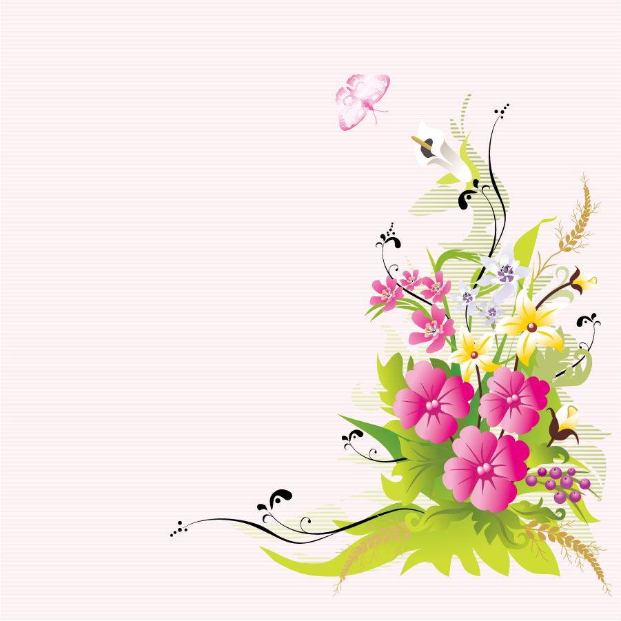 美しい植物柄背景 flowers pattern vector イラスト素材3