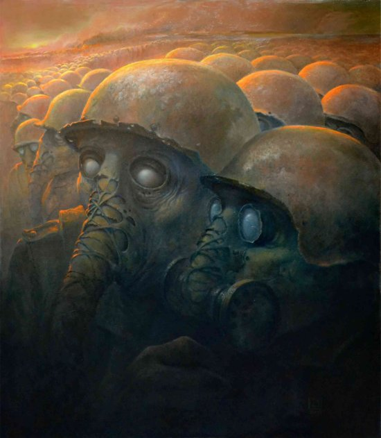 Dariusz Zawadzki deviantart pinturas surreais sombrias distopia ficção científica apocalipse terror demônios