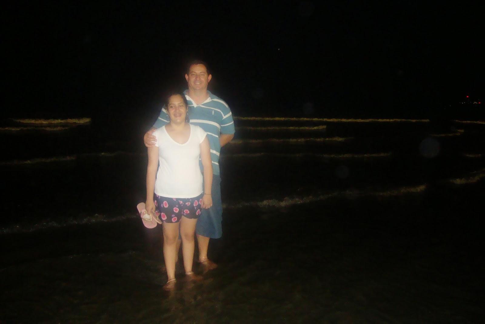 Praia de Santos - SP, à noite, no verão