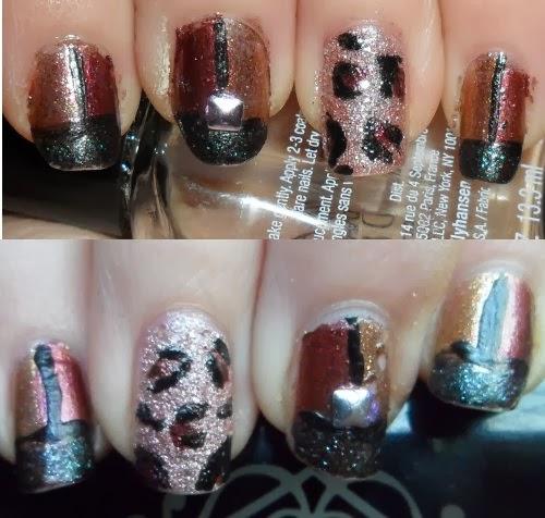 geometric leopard nail art