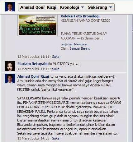 Ahmad Qoni Rizki, Komentar Facebook