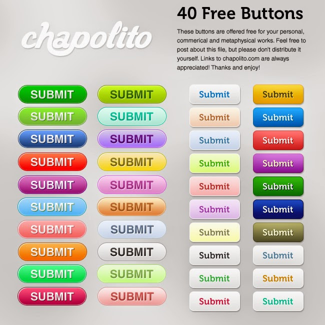 40 Free Buttons PSD