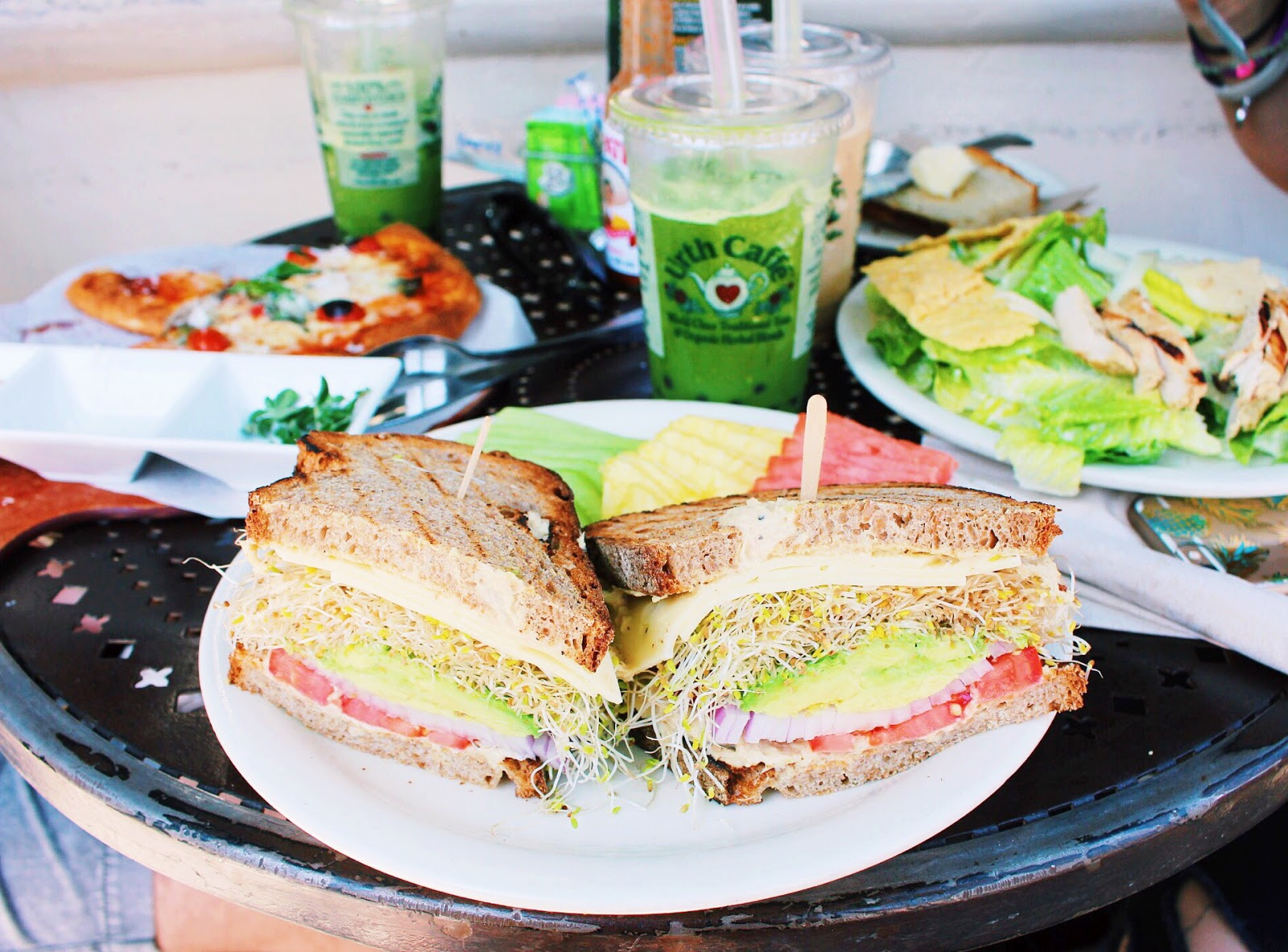 urth caffe on melrose in los angeles, green tea boba and sprout sandwich