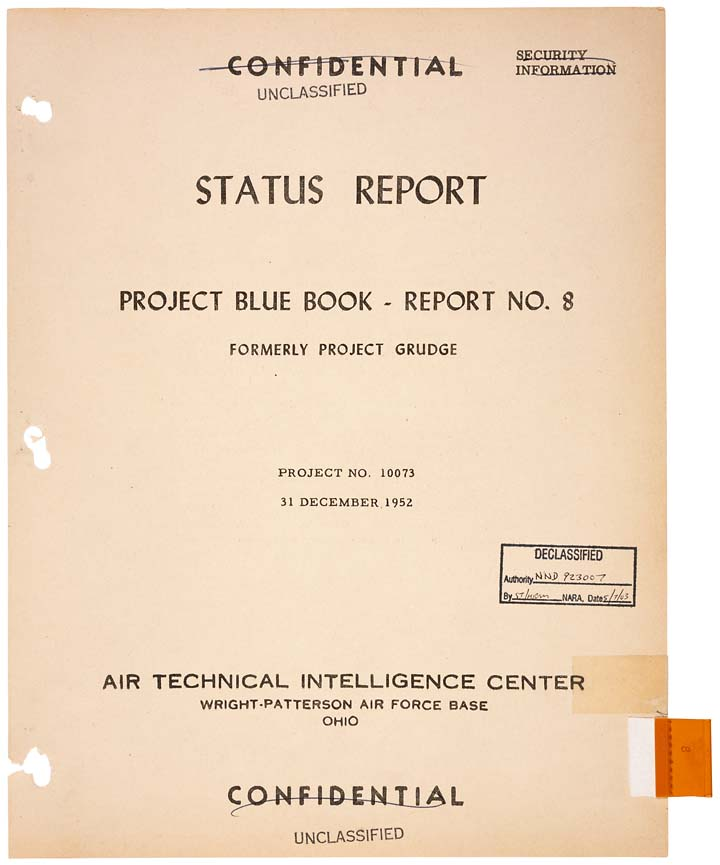blue book report Air force's 'project blue book' details decades of ufo reports in new a report detailed four black circular-shaped discs flying in.