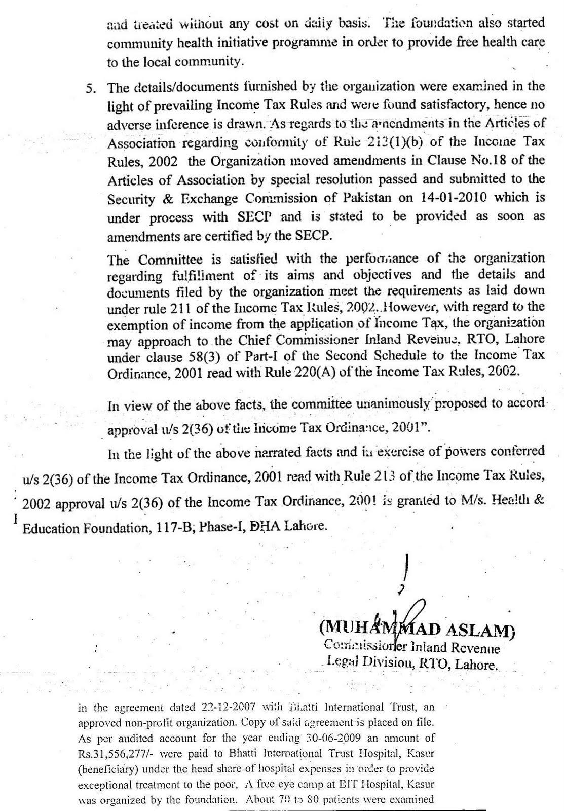 Health education foundation pakistan tax exemption certificate tax exemption certificate fbr govt of pakistan xflitez Images