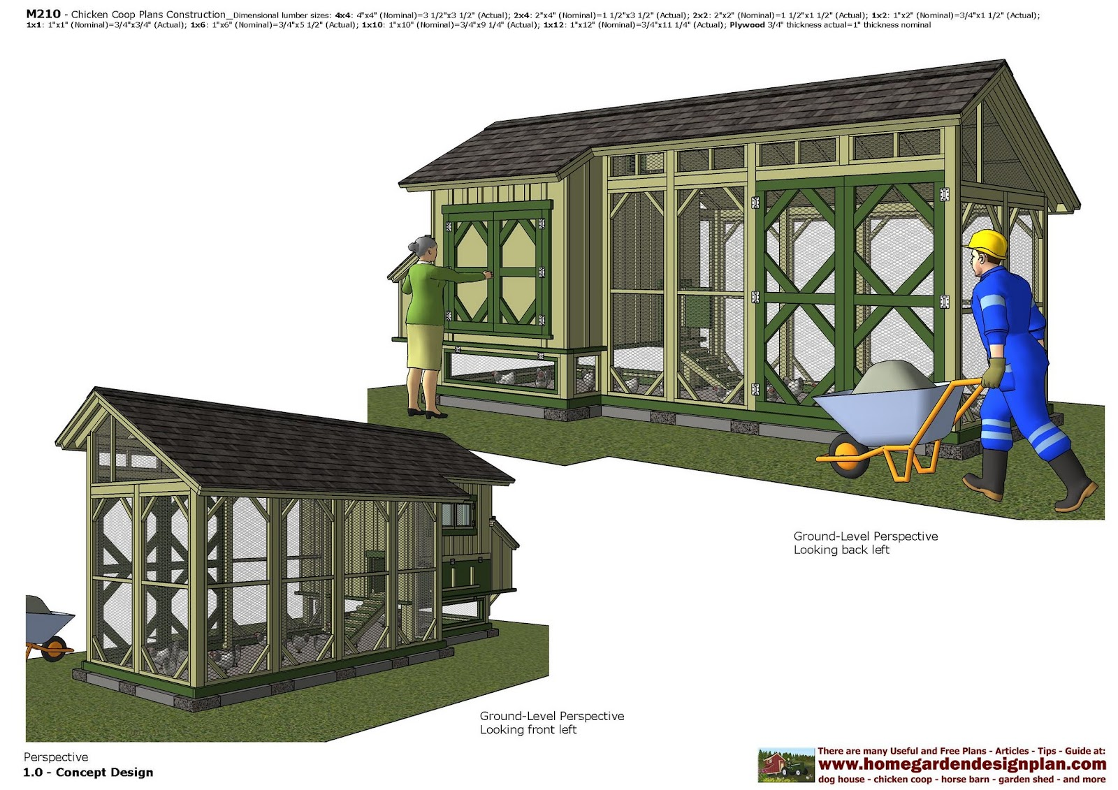Mina m210 chicken coop plans construction how to build a for Chicken run plans