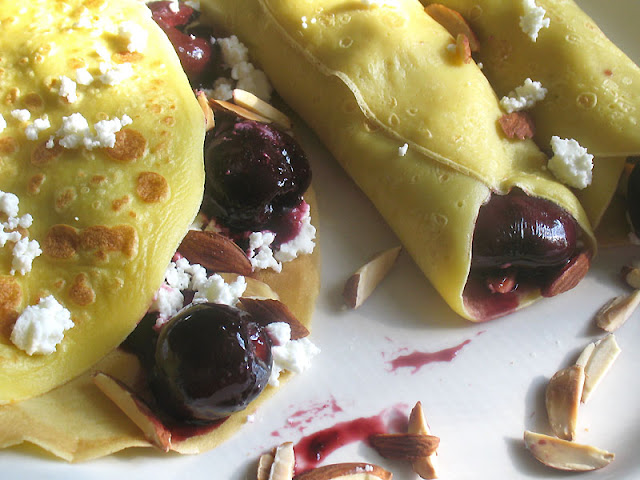 cherry goat cheese crepes