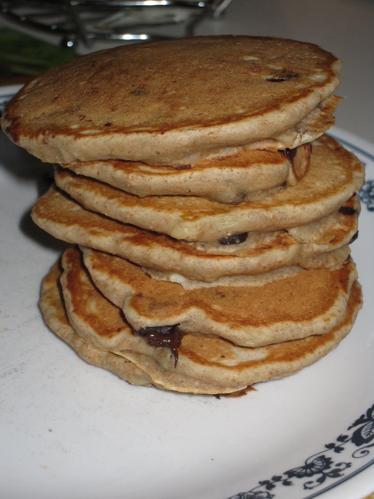 Whole Wheat Banana Chocolate Chip Pancakes - She Bakes Here