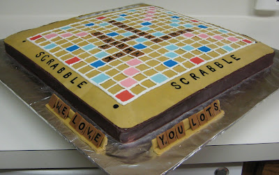 3D Scrabble Board Game Cake - View of Tile Racks