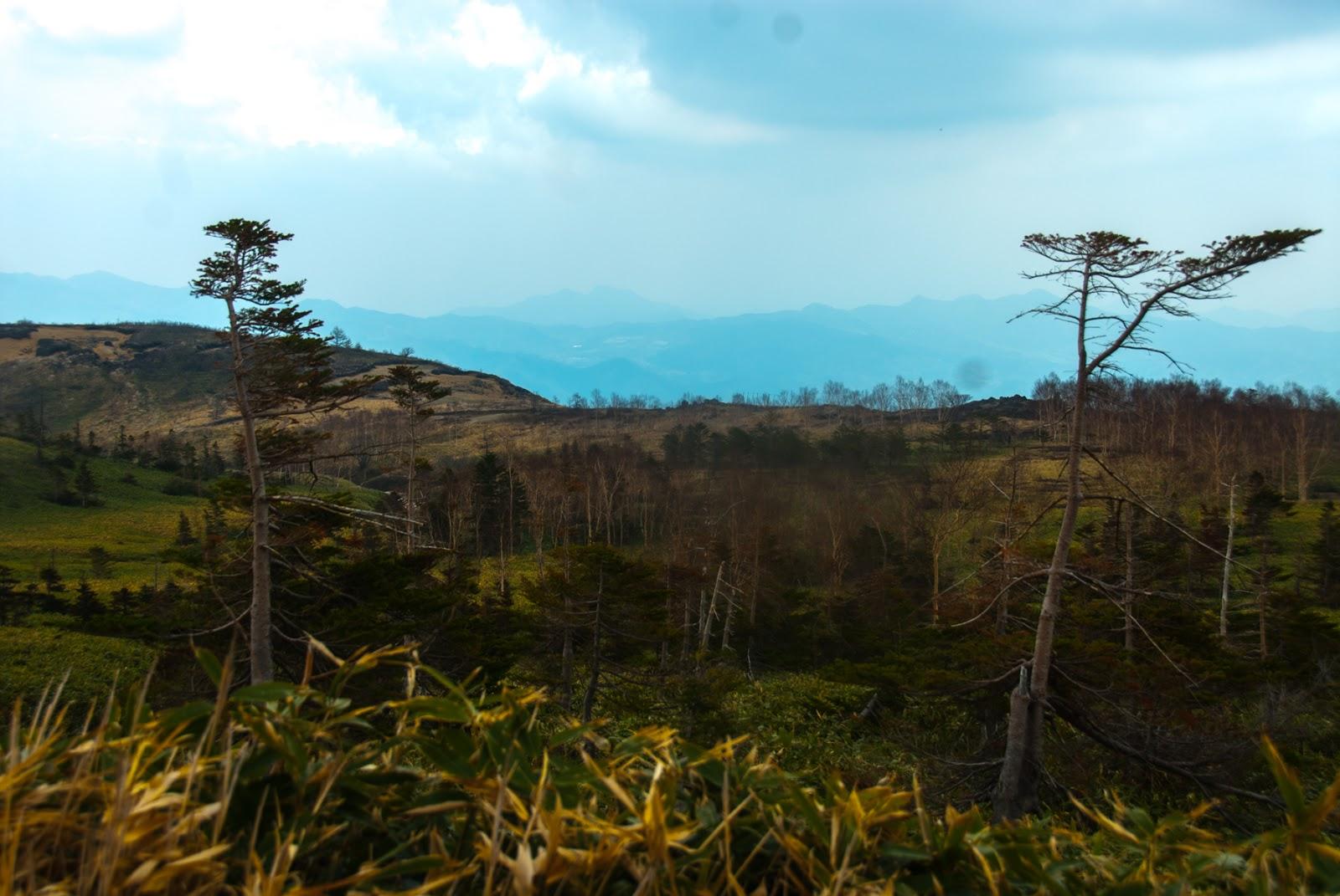 渋峠の中腹から見た景色