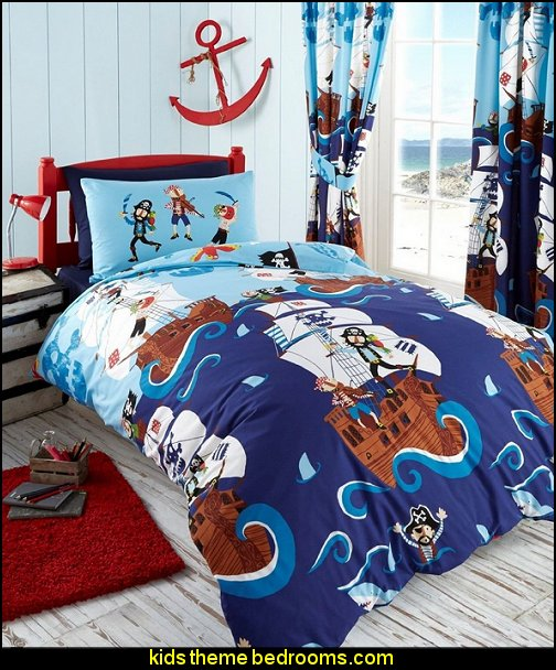 SWASHBUCKLE PIRATES PARROT SHIP REVERSIBLE DOUBLE DUVET COVER BEDDING SET