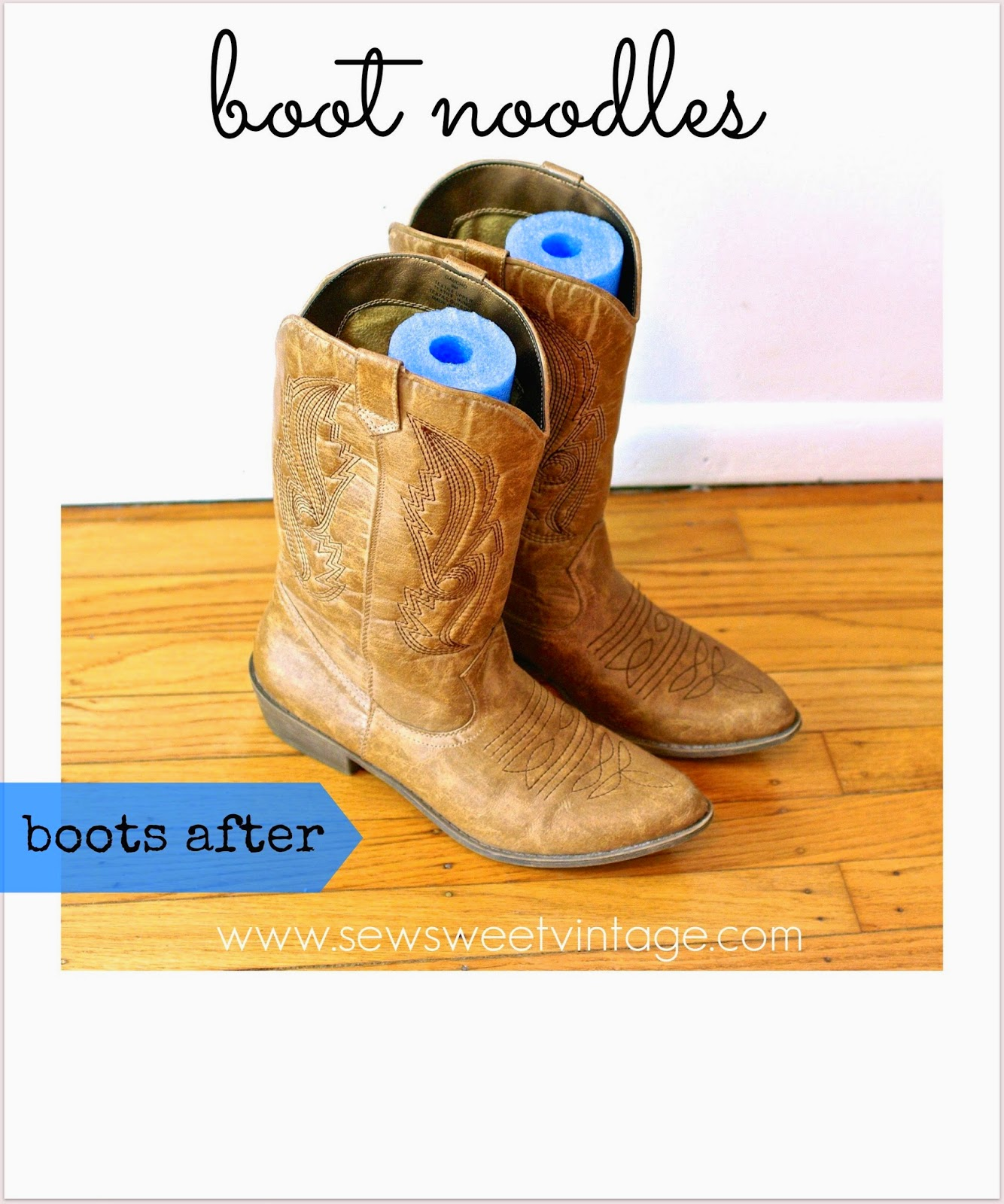 organize boots with pool noodles