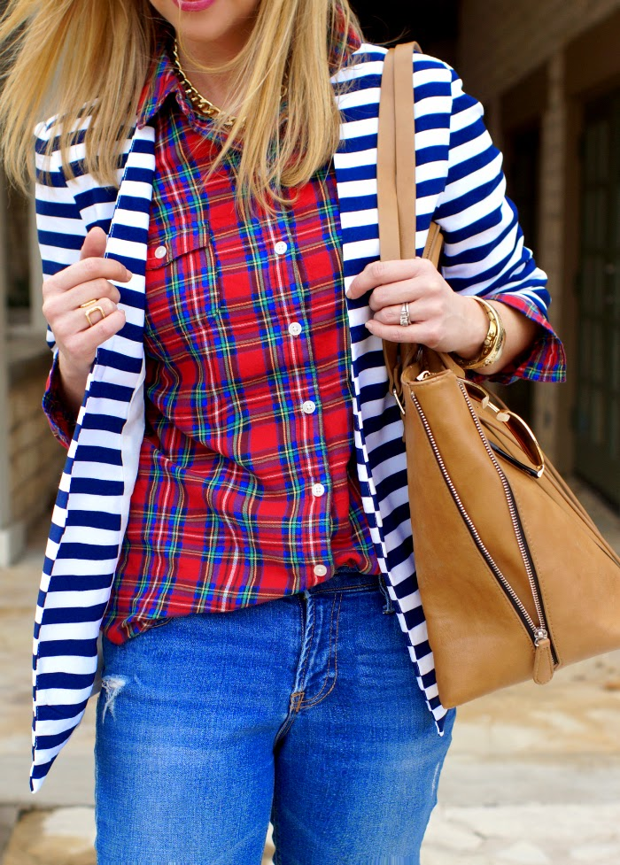 plaid and stripes pattern print mixing