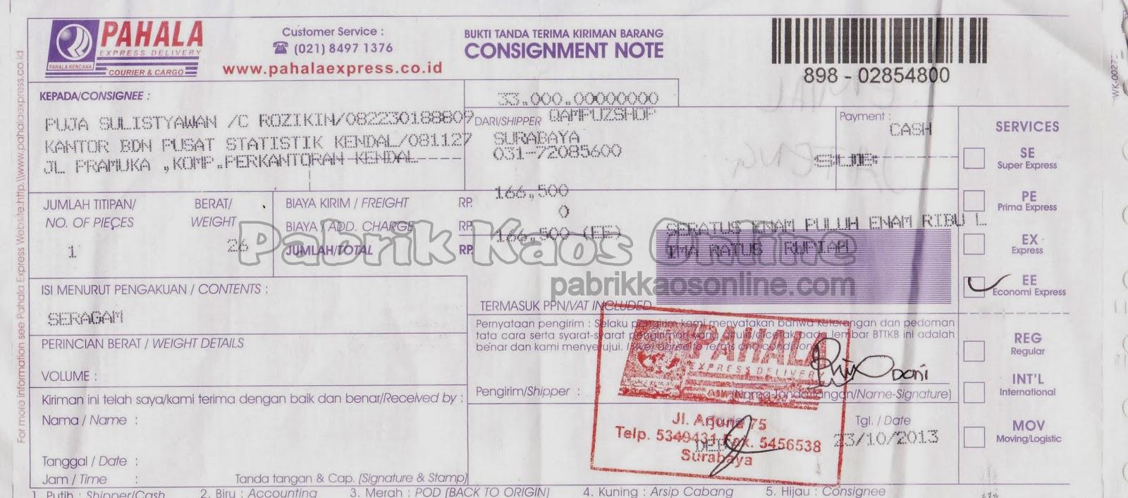 nota kirim kendal via pahala express delivery