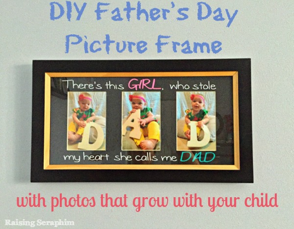 DIY Father's Day Frame. Use pictures each year to watch you child{ren} grow. Here is a do it yourself {and what not to do} on creating this great memory.
