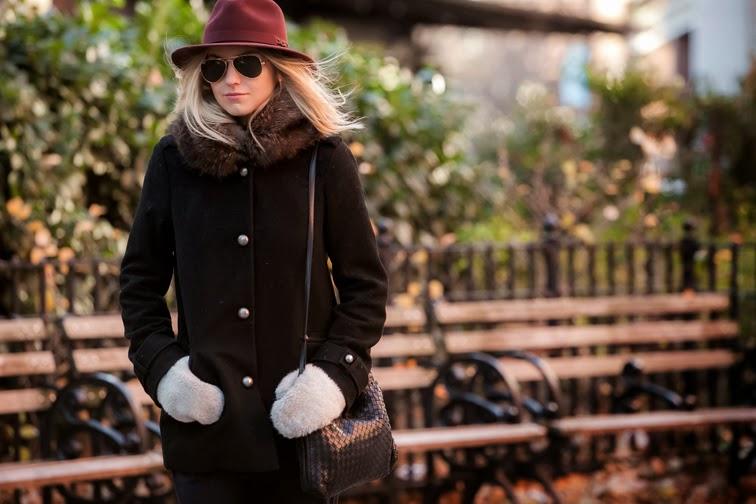 Outerwear wide brim hat Salmagundi Bailey of Hollywood fur collar Joe Fresh coat