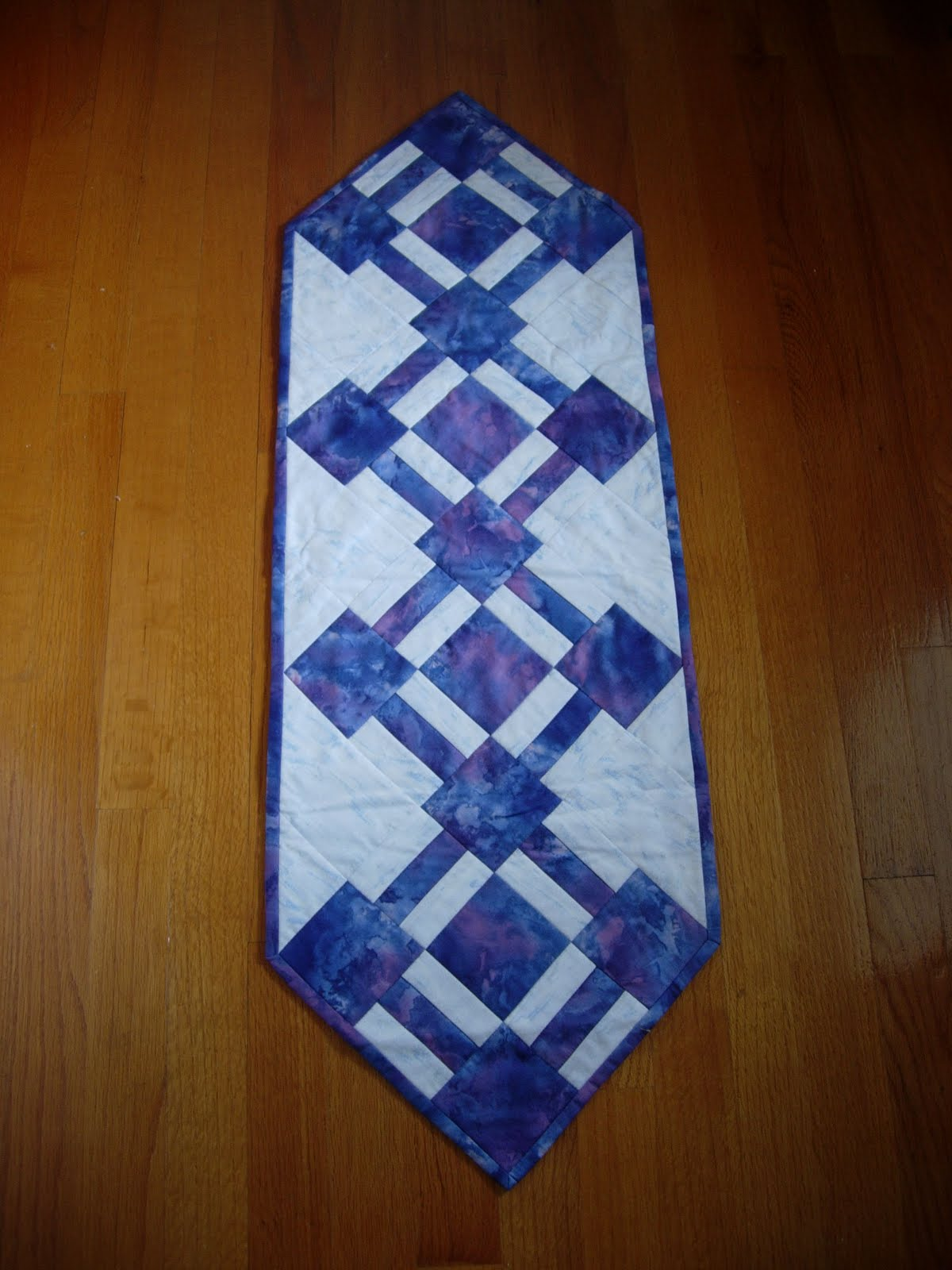 Quiltitems4u Batik Purple And White Table Runner