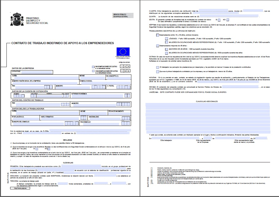 contrato de trabajo comercial: