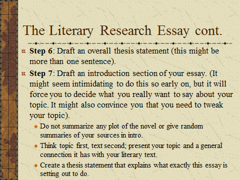 research paper literary 96 chapter 6 writing a research paper when you write a paper about a literary topic, you often supplement your own in-terpretations with information from other sources.