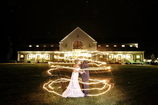 A Swirl of Sparklers Wedding Photo
