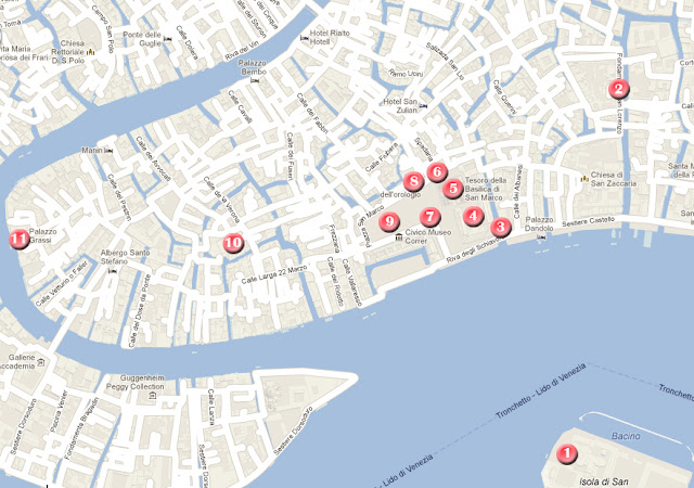 Mapa de la ruta por Vvenecia, día 1