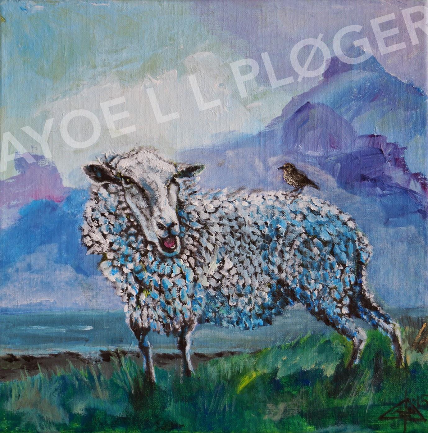 Får, marsken, stær, venskab,friendsheep, sheep, bird, maleri, kunst, acryl, moderne