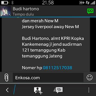 Konfirmasi pemesanan dan alamat lengkap Budi Hartono di enkosa sport