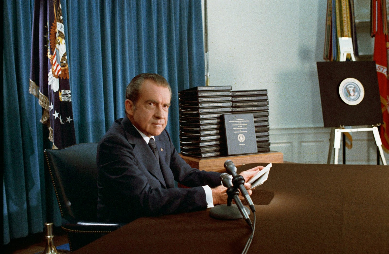 Nixon releasing edited transcripts of Watergate transcripts, 1974