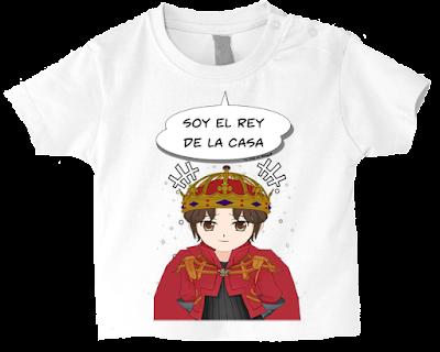 """Camiseta manga corta para bebé """"El rey de la casa"""" color blanco"""