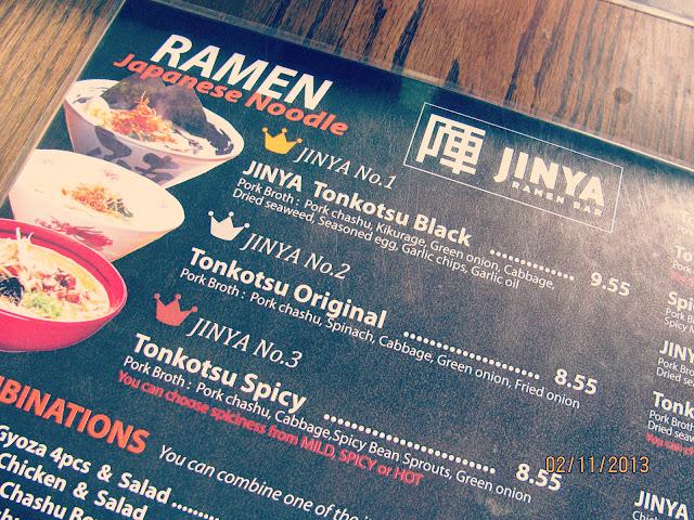 Jinya Ramen Bar- Menu