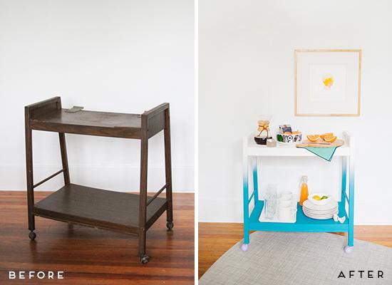 Antes y después mueble tv