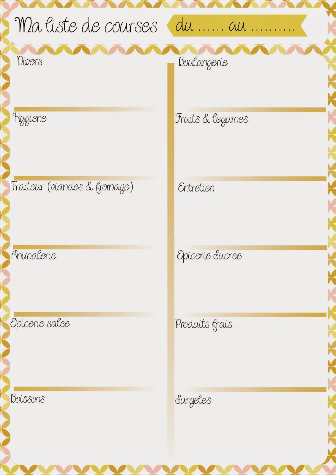 Planning repas & liste de courses #1 - Les Lubies de Caroline