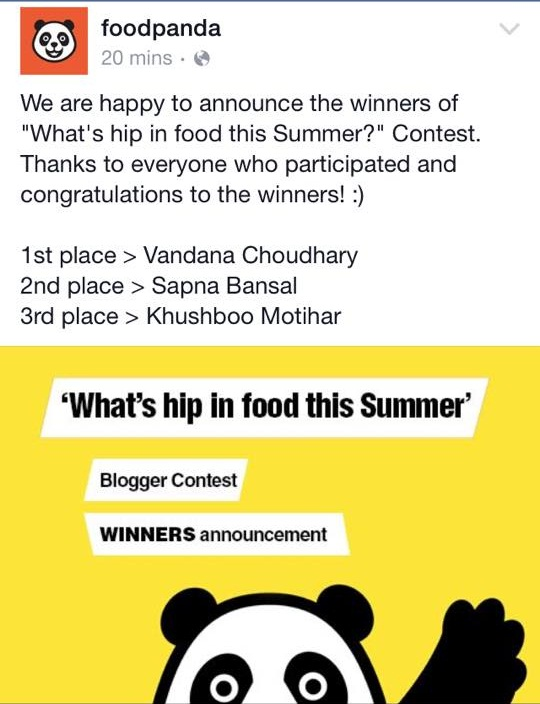WINNER OF FOOD BLOGGING ACTIVITY