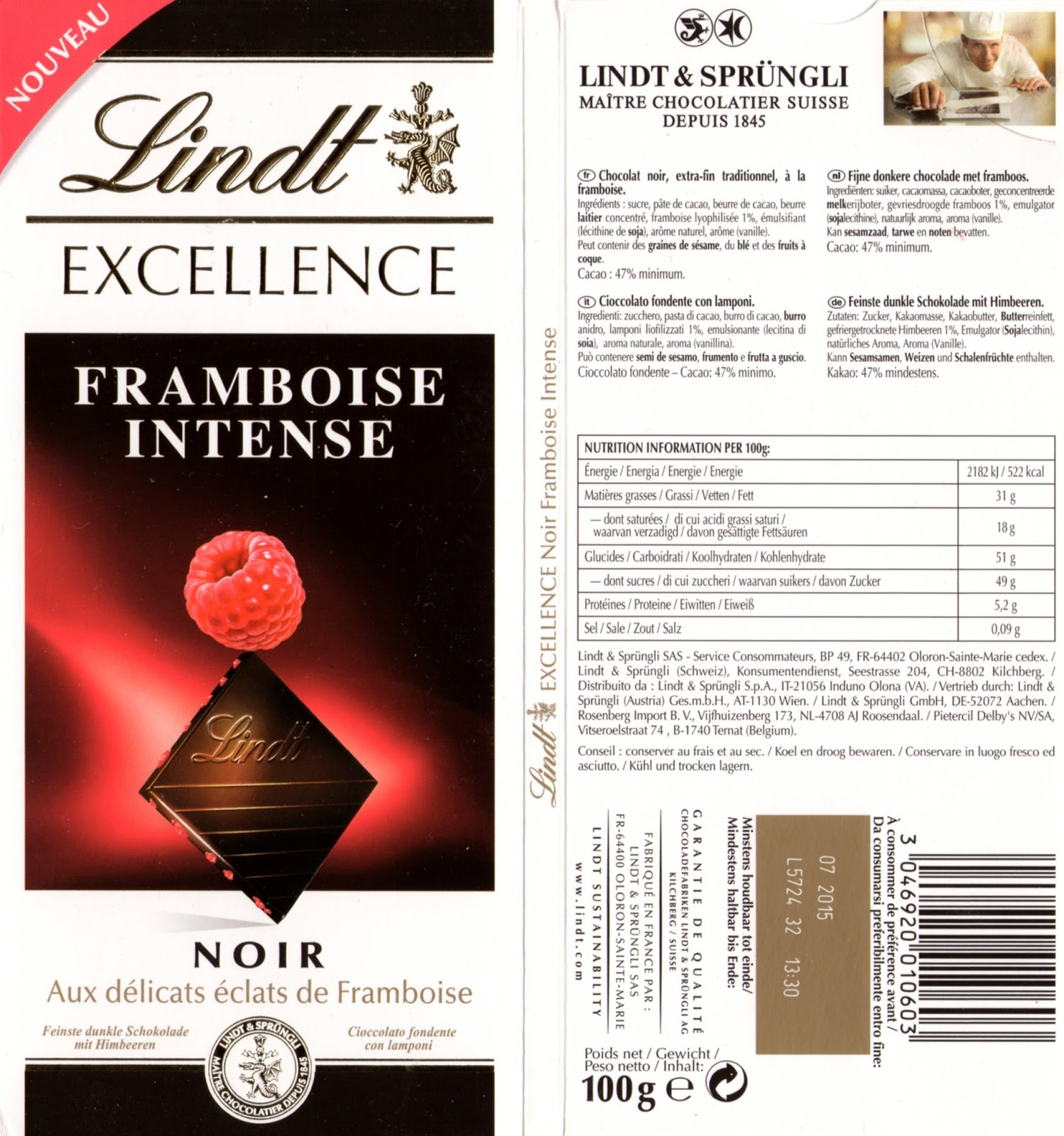 tablette de chocolat noir gourmand lindt excellence framboise intense noir