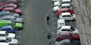 funny picture:  woman parked car