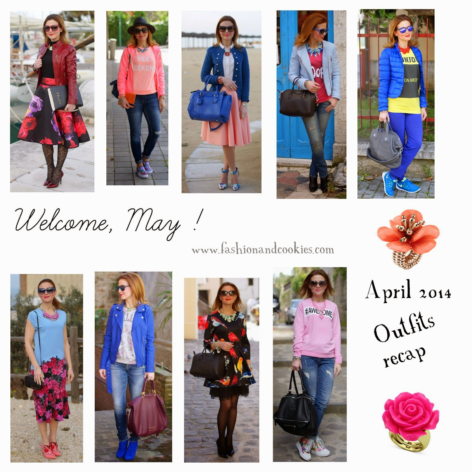 Welcome May, April 2014 outfits recap on Fashion and Cookies, fashion blogger