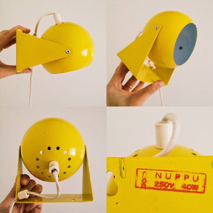 retro yellow wall light 1960's, 1970's vintage lamp yellow