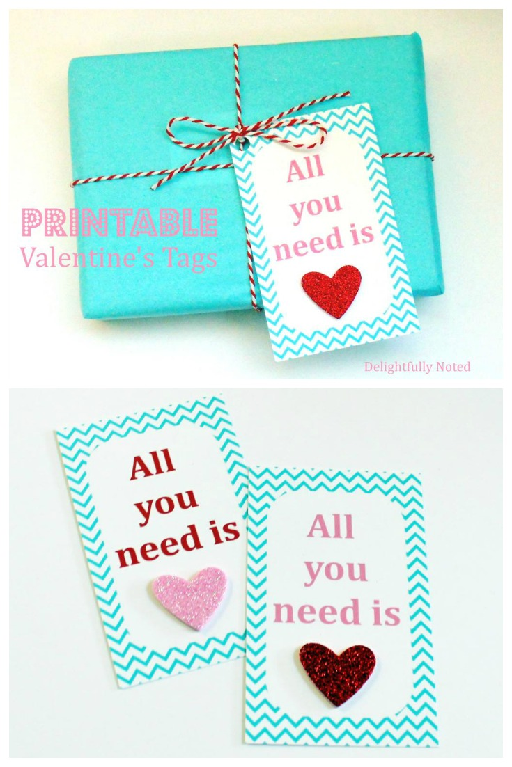 All You Need Is Love Free Printable Valentine's Day Gift Tags