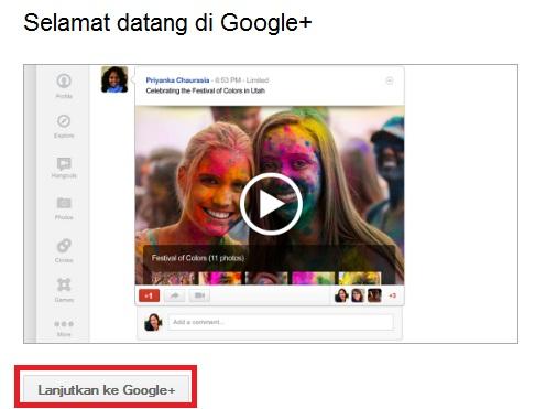 Ucapan selamat datang ke Google Plus