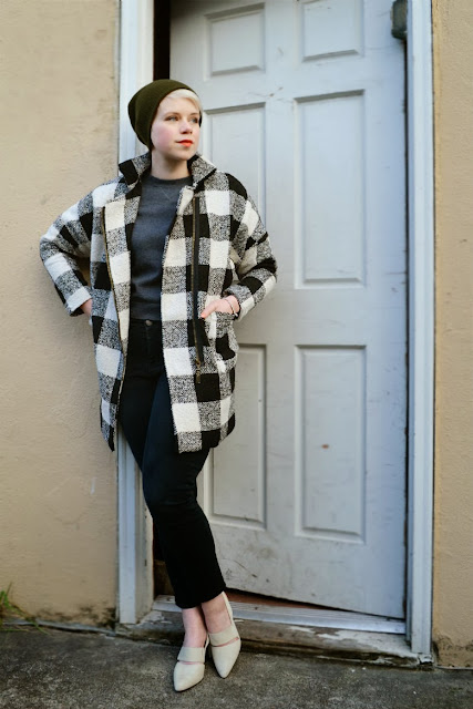 plaid, oasap, hat, red lips, heels