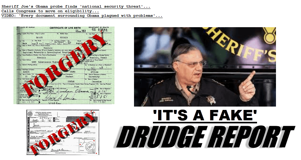 sheriff joe arpaio fake obama birth certificate birther report