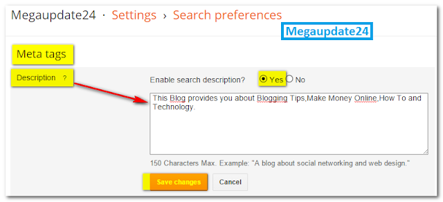 Add Meta Description, blogger blog