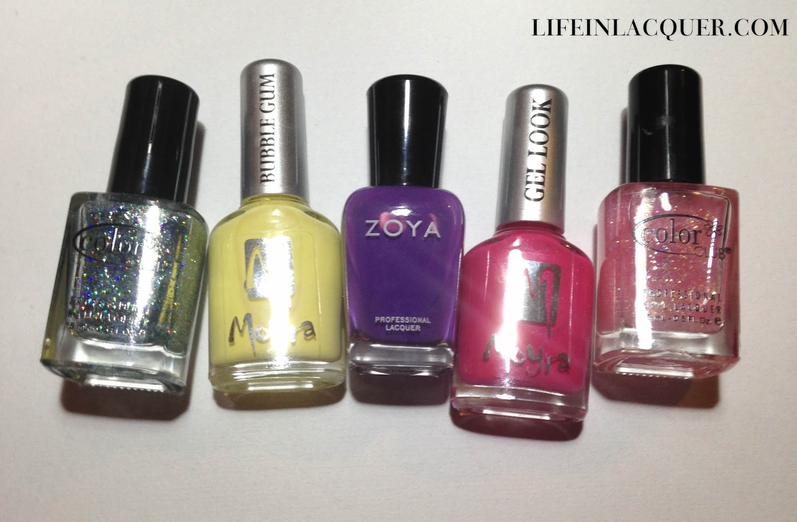 Nail Polishes Used for Watercolour nail art zoya glitter colorclub moyra