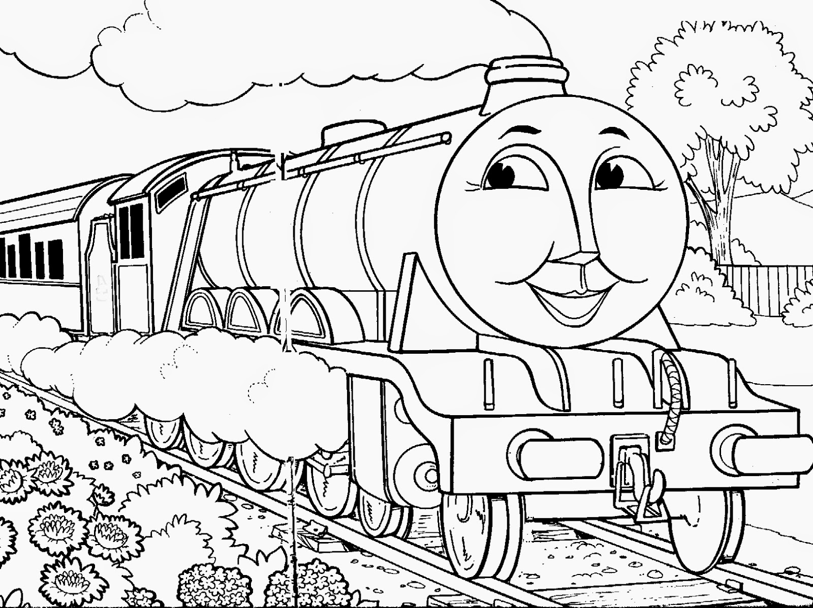 Mewarnai gambar Thomas untuk anak 4