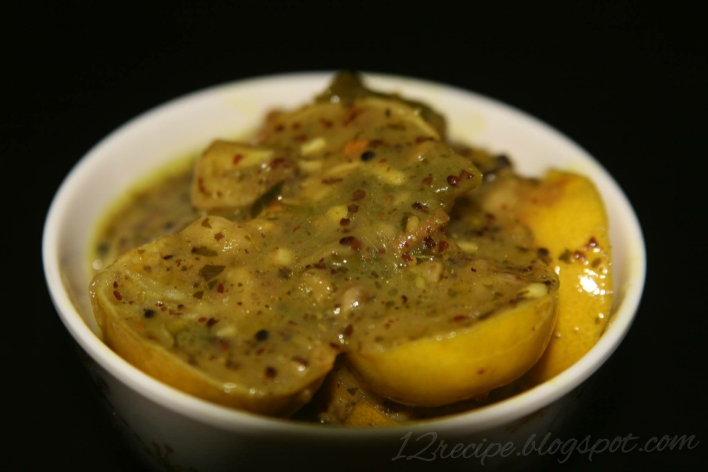 Lemon Pickle or naranga achar