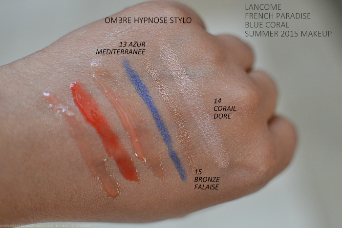 Lancome French Paradise Blue Coral Makeup Collection Summer 2015 Swatches Ombre Hypnose Stylo Cream Eyeshadow Sticks 13 Azur Mediterranee 15 Bronze Failaise 14 Corail Dore