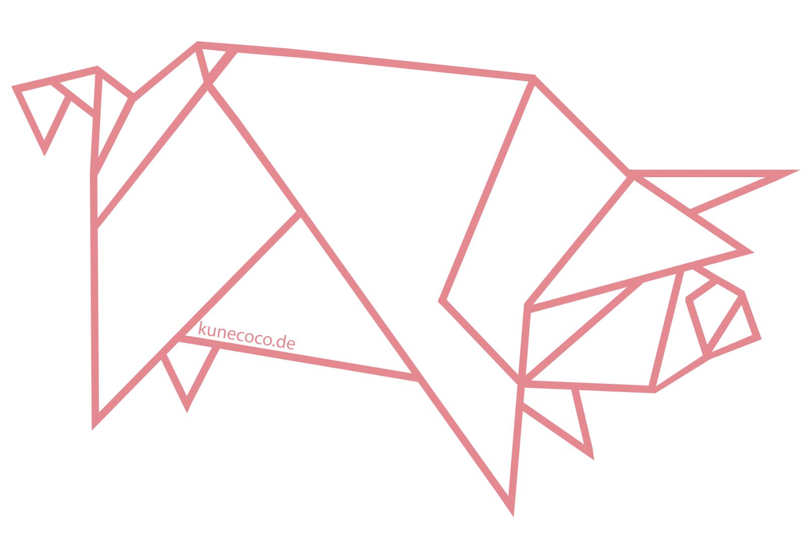 diy inspiration ein origami schwein an der wand kunecoco. Black Bedroom Furniture Sets. Home Design Ideas