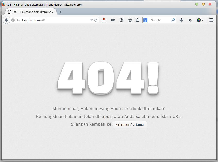 Cara Membuat Halaman Error 404 di Blog ala Kang Rian