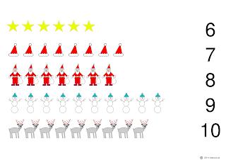 liczenie dla dzieci do 10 - Mikołaje, renifery